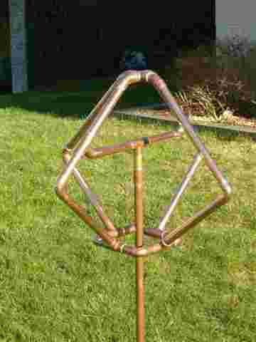 complex geometric shape copper art sprinkler