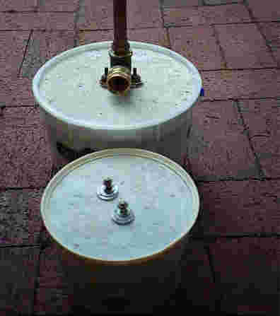two versions of concrete base for copper sprinkler